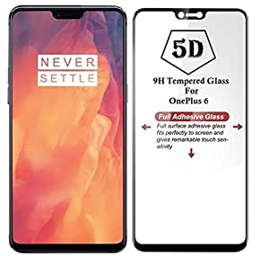 V CAN Full Screen 5D 9H Hardness Anti-Fingerprint 0.33mm HD+ View Crystal Clear Tempered Glass for OnePlus 6 (Black)