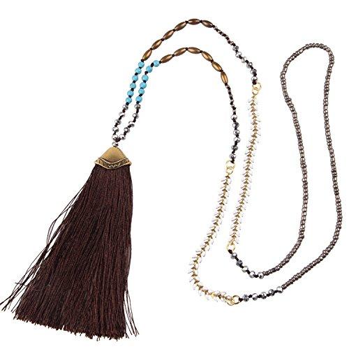 Frauen Mädchen Bohemian Türkis Kristall Perlen Halskette Damen Lange Kette mit Tassel Anhänger - Dunkelbraun ()