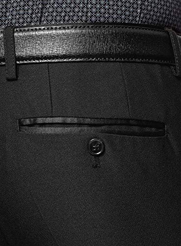 oodji Ultra Hombre Pantalones Slim con Acabado de Raso, Negro, ES 46 (L)