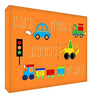 Feel Good Art A3 Deep Box Canvas Nursery Wall Art Sticker in Modern Illustrative Style (40 x 30 x 4 cm, Orange) - low-cost UK light store.