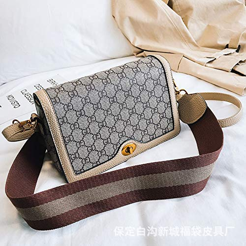 WOAIRAN Frauen Umhängetasche Umhängetasche Mode Vintage Druck Mini Damen Breiten Schultergurt Kleine Quadratische Tasche Umhängetasche Khaki