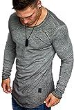 Amaci&Sons Oversize Herren Vintage Longsleeve Verwaschen Crew Neck Sweatshirt Rundhals Basic Shirt 6070 Anthrazit M