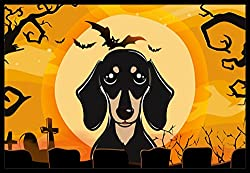 Carolines Treasures Halloween Smooth Black and Tan Dachshund Indoor or Outdoor Mat, 24 by 36, Multicolor