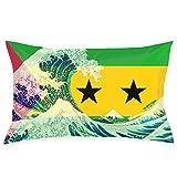 MedieMo Sao Tome et Principe Drapeau et Vague de Kanagawa Taie d'oreiller décoratifs...