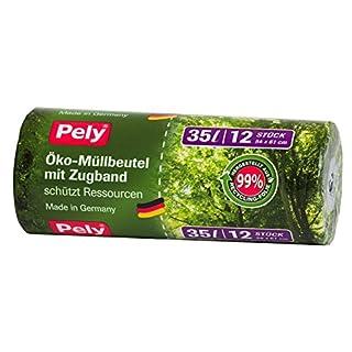 132 Stück Pely® Öko-Müllbeutel mit Zugband, 35 Liter, 12 Stück je Rolle. 1 Karton mit 11 Rollen.