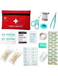 Kit de premier secours, 60 pièces Mini petit kit de premiers secours comprend une couverture de feuille d'urgence, un masque de RCR pour la maison, le véhicule, les voyages, le bureau, le lieu de travail, la garde d'enfants, la randonnée, la survie et l'extérieur