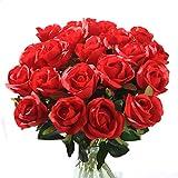 Künstliche Seidenrosen 10 Stück, Gefälschte Rosen für Hochzeitsdekoration, Geburtstag, Garten, Grabschmuck (rot) Xueshanred