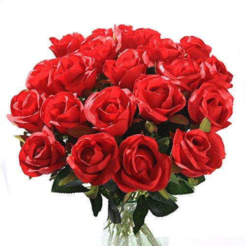 Veryhome Fiori Artificiali Rose di Seta Falso Bouquet da Sposa da Sposa per la casa Giardino Partito Decorazioni Floreali 10 Pezzi (Rosso, specie2)