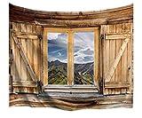 A.Monamour Wanddekor Wohnaccessoires Deko Wandteppiche Natur Berge Landschaft Landschaft Außerhalb Holz Fenster Druck Stoff Wand Hängen Tapisserie Vorhänge Für Wohnzimmer Dekore 153x102cm / 60