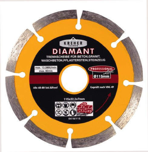 Kreher Diamant Trennscheibe, segmentiert. Durchmesser 115 mm, Bohrung 22 mm, Segmenthöhe 7 mm. Für Granit, Beton, Waschbeton, Steinzeug.