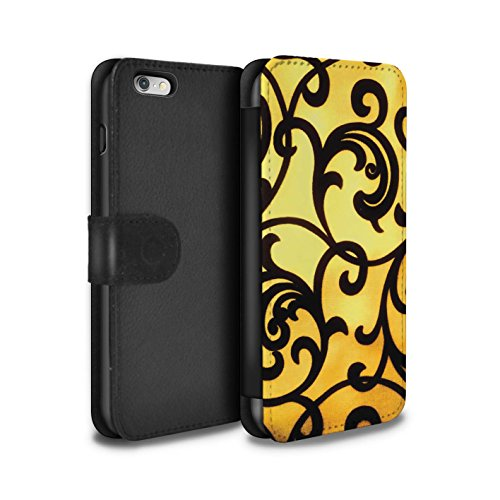Stuff4 Coque/Etui/Housse Cuir PU Case/Cover pour Apple iPhone 6+/Plus 5.5 / Chaud Plage Rayures Design / Mode Jaune Collection Floral Vigne Swirls