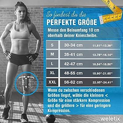 weletix Kniebandagen Sport (2er Set) stabilisierend, schmerzlindernd und schützend - rutschfeste Knie Bandage für Herren und Damen - Knieschoner für Kompression, Laufen, Kickboxen, Wandern, Crossfit