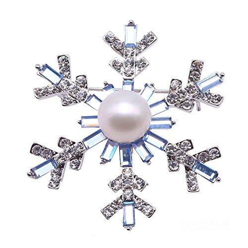 JYX feine Brosche weiße Frischwasserperlen-Broschen Anstecknadel Schnee-Flocke-Art -