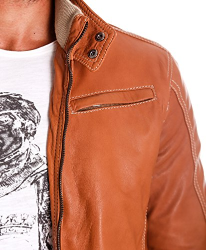 D'Arienzo Blouson d'aviateur en cuir véritable avec col, fond et poignets de laine, Chamois Chamois