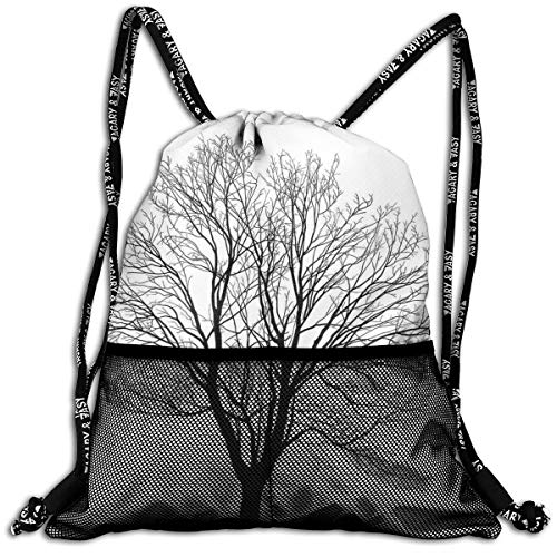 RAINNY Drawstring Backpacks Bags,Monochrome Barren Maple Tree Silhouette Hand Drawn Autumn Season Nature,5 Liter Capacity,Adjustable