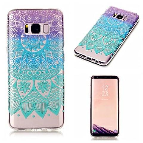 Samsung Galaxy S8 case KSHOP TPU en Souple Silicone Bumper Housse Ultra mince Flexible Transparent de Protection Portable Anti shock Anti Scratch avec Motif - Mandala Bleu