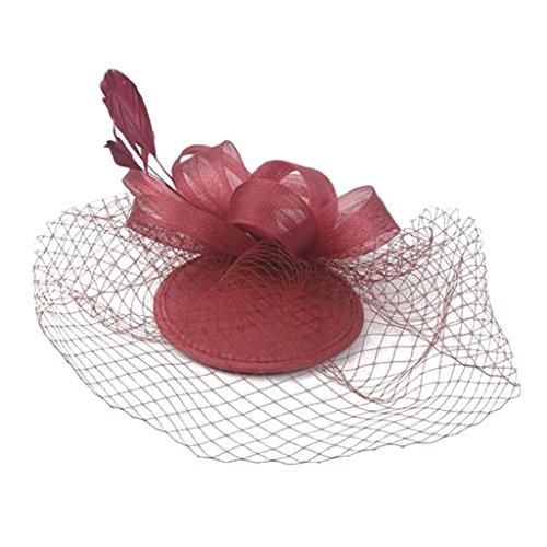 Sposa Copricapo Velo Fascinator Hairclip Tornanti Piuma Cappello Mollette - rosso