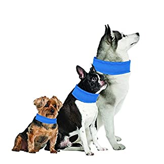Aolvo Dog Cooling Collar, Dog Cooling Bandana Ice Chill Out Scarf for Hot Summer – Non Toxic, Lightweight – Keep Pets Cool, Cool Stuff for Pet – Blue – Large 51f 2B0F9AnQL