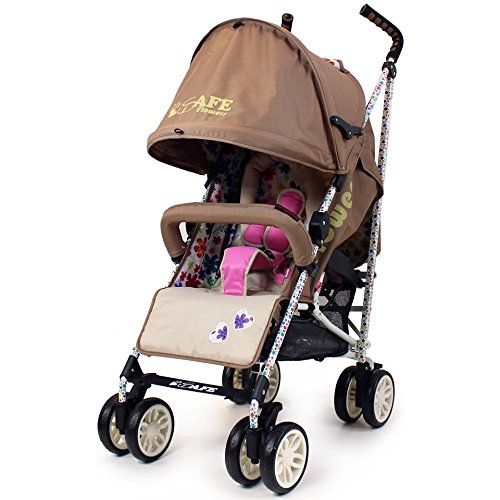 iSafe buggy Stroller Pushchair - Flowers (Complete With Bumper Bar & Rain cover)