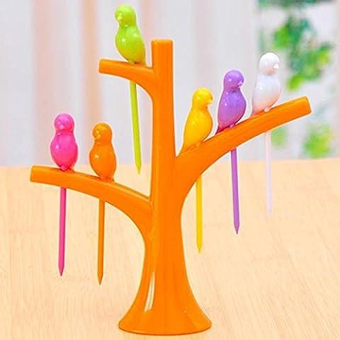 SUVERAAN 1Pc ie-Frucht-Gabel Vögel auf dem Baum Dessert Kuchen Fruit