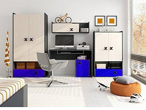 chambre-dadolescent-enfant-erimmer-kit-complet-iks-02-5-pieces-chene-anthracite-creme-bleu-royal