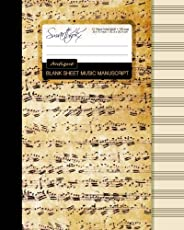 Blank Sheet Music: Music Manuscript Paper / Staff Paper / Musicians Notebook Book Bound Perfect Binding * 12 Stave * 100 Pages * Large * Antique (Composition Books - Music Manuscript Paper)