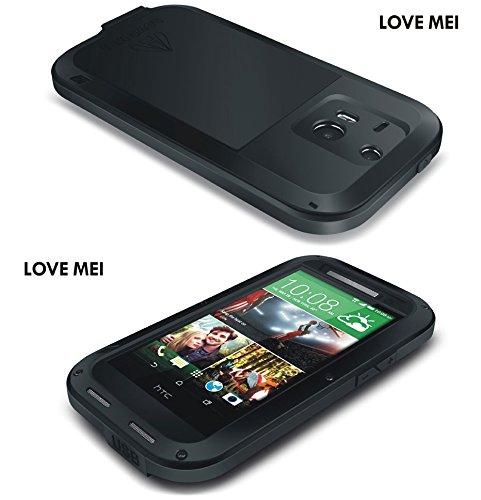 Aluminium wasserdichte Schutzhülle für HTC One M8, Love Mei Marke stoßfest Cover mit Gorilla Glas White with Black