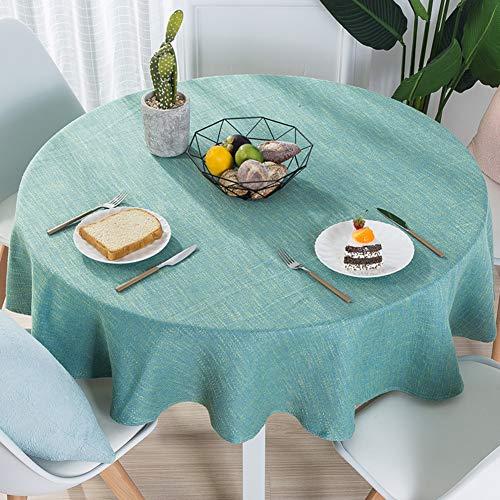 Nclon tinta unita cotone lino tovaglia, moderno semplice rotondo tavolo da pranzo tovaglie, texture naturale elevata solidità del colore-verde diametro 140cm