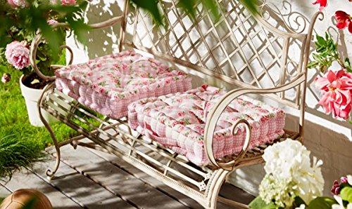 Sitzkissen Rosanna - Bezug aus 100% Baumwolle - Rosen & Karos - Rosa - ca. 40 x 40 cm