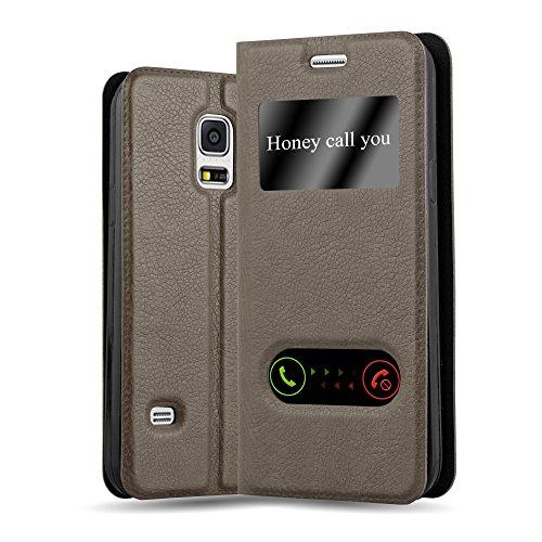 Cadorabo Hülle für Samsung Galaxy S5 Mini / S5 Mini DUOS - Hülle in Stein BRAUN – Handyhülle im Standfunktion und 2 Fenstern (View Design) - Case Cover Schutzhülle Etui Tasche Book Klapp Style