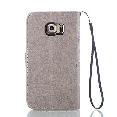 Galaxy S6 Edge Hülle,Galaxy S6 Edge Schutzhülle,Galaxy S6 Edge Case,Galaxy S6 Edge Leder Wallet Tasche Brieftasche Schutzhülle,ikasus® Prägung Klee Blumen Muster PU Lederhülle Flip Hülle im Bookstyle  Groß Schmetterling:Grau