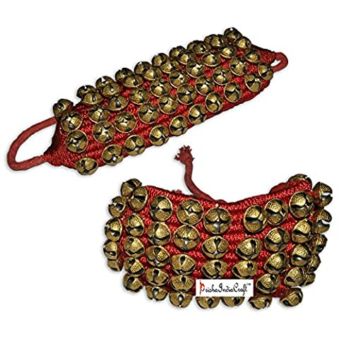 Prisha Indien Craft ® Kathak Ghungroo (16.Nr. Ghungroo) (5) Fünf Line Big Tanzen Glocken Ghungroo Paar handgefertigten indischen klassischen Tanz Zubehör Bharatnatyam, Kuchipudi, Odissi Ghungru roten Pad