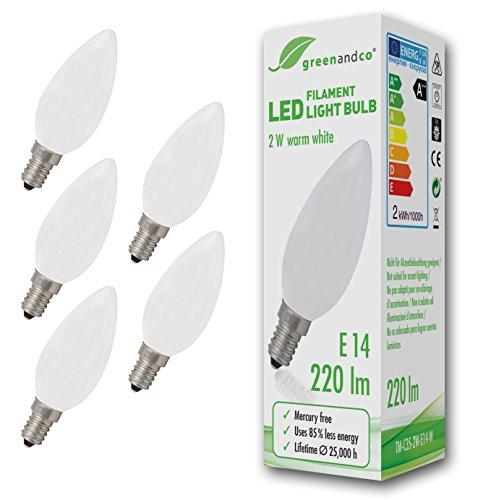 5x greenandco® LED Lampe ersetzt 22 Watt E14 Kerze matt, 2W 220 Lumen 2700K warmweiß Filament Fadenlampe 360° 230V AC nur Glas, nicht dimmbar, flimmerfrei, 2 Jahre Garantie