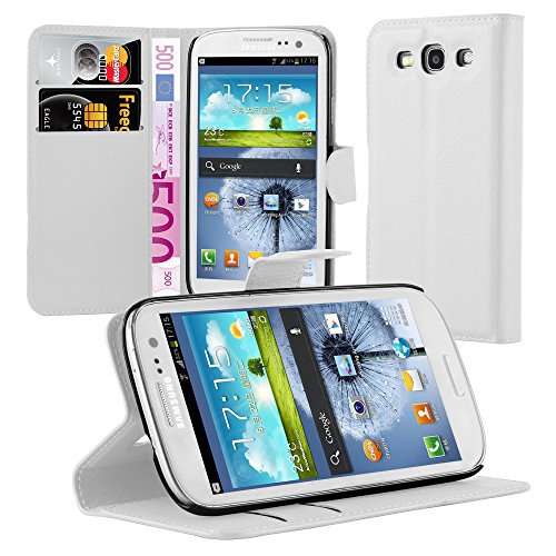 Cadorabo Custodia Libro per Samsung Galaxy S3 / S3 Neo in Bianco Fumo – con Vani di Carte, Funzione Stand e Chiusura Magnetica – Portafoglio Cover Case Wallet Book Etui Protezione