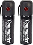 Commander Self Defense Pepper Spray for Women Safety/Protection, 55 ml Compact Size with Clip | Max Protection - 35 Shots (2, Black)