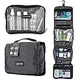 Travando ® Premium Kulturtasche zum Aufhängen + Transparente Reißverschlusstasche / Kosmetiktasche + Sieben Flüssigkeiten-Behälter | Faltbarer Kulturbeutel für Herren , Damen