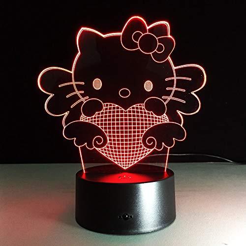 Lindo Gato luz de Color Bombilla luz Ambiente Noche luz niña con lámpara de Mesa habitación de bebé Noche luz de sueño