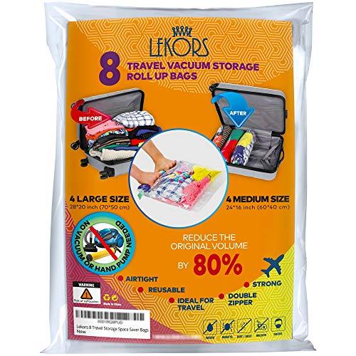 Lekors Travel Space Saver Bags-4große und 4Medium Kompression Taschen-8Stück Ziploc Staubbeutel für Reisen-Doppelter Reißverschluss-Wiederverwendbar-Keine Pumpe oder Vakuum notwendig (Ziploc Große Taschen)