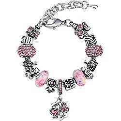 MANBARA Schlangenketten Charm-Armbänder Kristall Armband mit Blumen Glasperlen und Herzanhänger für Frauen Verstellbare Länge und Reihefolge der Beads DIY Armschmuck (I Love You my Aunt Forever)