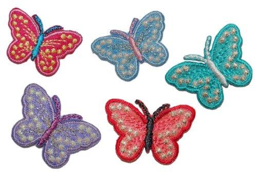 Preisvergleich Produktbild 5 er Set Schmetterling bunt 3, 2 cm * 2, 2 cm Bügelbild Aufnäher Applikation - blau + lila + rosa + türkis + rot - Glitzer Patch