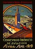 Vintage de Viaje ESPAÑA para el 1929exposición Ibero-Americana Concurso iberico de aviacon 250gsm Brillante Art Tarjeta A3reproducción de póster