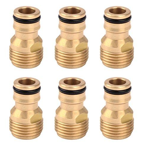6 pièces Laiton mâle BSP 1/5,1 cm Interne/Externe Filetage robinet pour tuyau d'arrosage Quick Connect Adaptateur External Thread