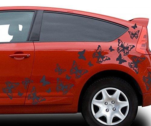 80x teiliges Set Auto Aufkleber Schmetterlinge Hibiskus Blumen Hawaii Sterne Seitenaufkleber Heckscheibe 2C123, Farbe:Lavendel glanz;Ausrichtung:gespiegelt