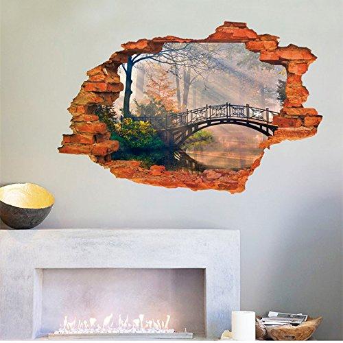 mur-amovible-autocollants-false-creek-pittoresque-pont-arche-de-lautocollant-de-mur-de-decoration-fe