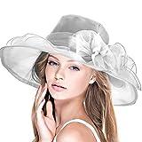 DAFUNNA Donne Cappello tesa larga organza cappello di estate floreale Elegante pieghevole matrimonio Cappello