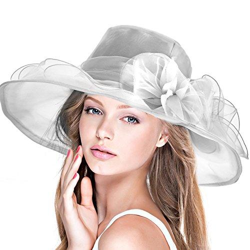 DAFUNNA Sombrero de ala Ancha Mujer Kentucky de Organza para Bodas diseño  de Flores Mullido Gorra e1b1e5b6c8f0