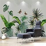 YUANLINGWEI Benutzerdefinierte Wandbild Tapete Nordic Pflanze Bananenblätter Floral Fresko Wohnzimmer Schlafzimmer Tv Hintergrund 3D Wallpaper,100cm (H) X 200cm (W)
