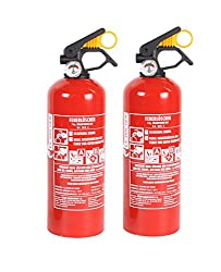 2 x Feuerlöscher Autofeuerlöscher ABC 1kg mit Halterung fabrikfrisch