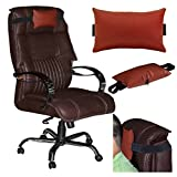 Acm Leather Cushion Pillow Head & Neck Rest for Full Back Office Chair Brown
