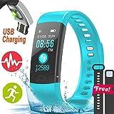 Turnmeon 2,4cm IP68impermeabile sport Bluetooth fitness tracker Smartwatch per uomo e donna, festa del papà regali con frequenza cardiaca pressione sanguigna indossabile braccialetto pedometro fotocamera per Android iOS, Y5-Blue, Blue